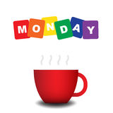 Färgglad text måndag med den röda koppen Arkivfoton