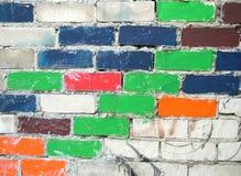 färgglad vägg för tegelstenar Royaltyfria Foton