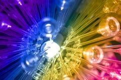 Färgglad vetenskap och teknikbakgrund ledde regnbågeljus Arkivbilder