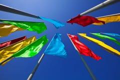 färgglada flaggor Royaltyfri Bild
