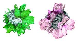 färgglada kristaller stock illustrationer