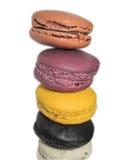 färgglada macarons Arkivbilder