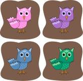 färgglada owls Royaltyfri Foto