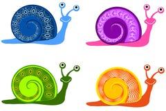 färgglada snails för tecknad film stock illustrationer