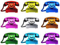 färgglada telefoner Royaltyfria Bilder