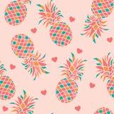 Färgglade ananors med hjärtor på rosa bakgrund royaltyfri illustrationer