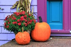 Färgglade Autumn Doorstep Display i den Mahone fjärden, Nova Scotia, Kanada royaltyfri fotografi