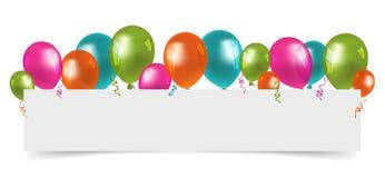 Färgglade ballonger med fritt utrymme för vitbok stock illustrationer