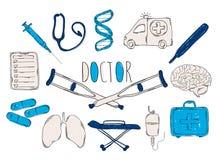 Färgglade barns illustration med en blyertspenna Samlingen av linjär hand drog symboler Symboler bearbetar doktorn royaltyfri illustrationer