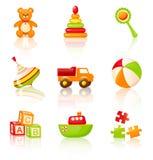 Färgglade barns leksaker. Vektorsymboler. stock illustrationer