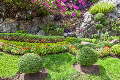 Färgglade blomsterrabatter och spolningsgräsbana Royaltyfria Foton
