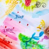 Färgglade borsteslaglängder på en vitbok, akvarellteckning Royaltyfria Bilder
