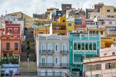 Färgglade byggnader i Las Palmas de Gran Canaria, Spanien Arkivbild