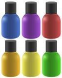 Färgglade färgpulverflaskor Fotografering för Bildbyråer