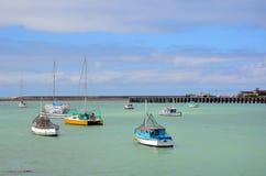 Färgglade fiskebåtar i en hamn Royaltyfri Foto