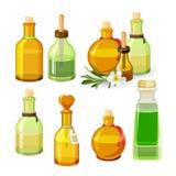 Färgglade flaskor med aromoljor som isoleras på vit bakgrund vektor Royaltyfri Fotografi