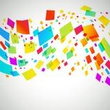 Färgglade fyrkanter i en vågmodell på ljus bakgrund Arkivbilder