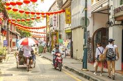 Färgglade gator i George Town, Penang, Malaysia royaltyfri bild