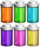Färgglade genomskinliga flaskor royaltyfri illustrationer