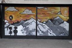 Färgglade grafitti i Croydon, UK Arkivbild