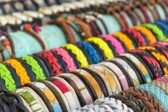Färgglade handgjorda armband Fotografering för Bildbyråer