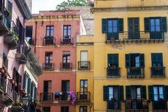 Färgglade hus cagliari Sardinia, Italien, Europa sardegna arkivbild