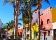 Färgglade hus och palmträd på gatan i den Puerto de la Cruz staden, Tenerife, kanariefågelöar, Spanien Arkivfoto
