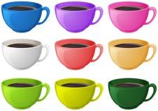 Färgglade koppar med kaffe royaltyfri illustrationer