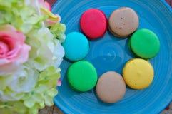 Färgglade Macarons Arkivbild
