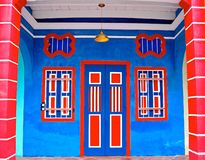 Färgglade peranakan shoppar huset arkivbild