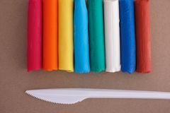Färgglade Playdough stänger Arkivfoton
