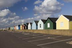 Färgglade strandkojor, Southwold, Suffolk, England Fotografering för Bildbyråer