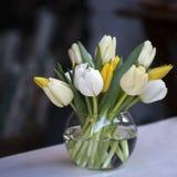 Färgglade tulpan i den till salu glass vasen arkivfoto