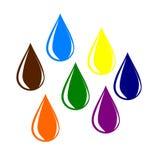 Färgglade vattendroppar. Royaltyfria Bilder