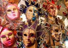 Färgglade venetian maskeringar Arkivbild