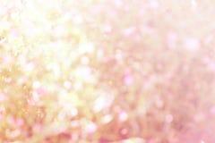 Färgglat av bokehljus som är suddigt med söta rosa färger Arkivfoton