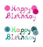 Färgglat baner för lycklig födelsedag som är rymd midair vid två händer i ett beröm- och partibegrepp Royaltyfria Bilder