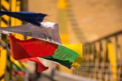 Färgglat buddistiskt fladdra för bönflaggor Royaltyfri Fotografi