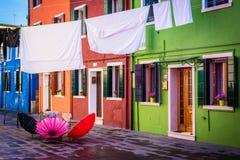 Färgglat foto från Burano, Italien Arkivbilder