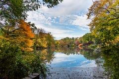 Färgglat när nedgång som kommer, höst i Central Park royaltyfri fotografi