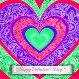 Färgglat pappers- kort för hjärtavalentindag. Arkivfoto