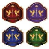 färgguld märker etikettsvektorn Royaltyfri Foto