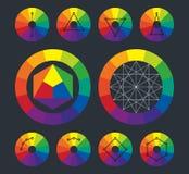 Färghjul, kompletterande intriger i vektor stock illustrationer