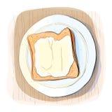 Färgillustration av bröd med smör Royaltyfri Fotografi
