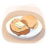 Färgillustration av bröd med smör Royaltyfria Foton