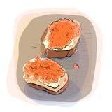 Färgillustration av bröd med smör på en platta Royaltyfri Fotografi