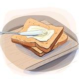 Färgillustration av bröd med smör på en platta royaltyfri bild