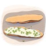 Färgillustration av bröd med smör på en platta Arkivbilder