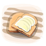 Färgillustration av bröd med smör på en platta Arkivfoto