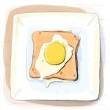 Färgillustration av bröd med smör på en platta Royaltyfri Foto